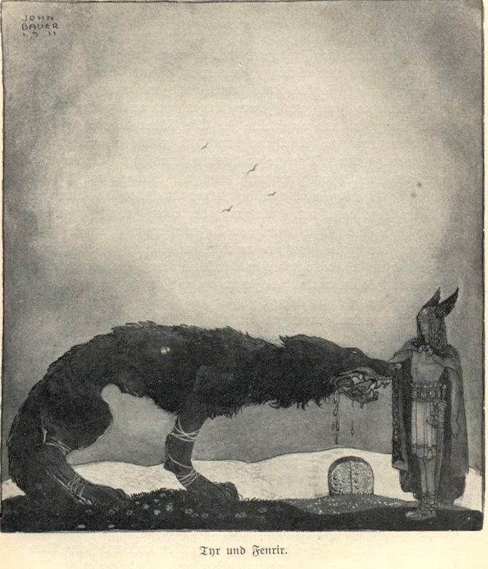 John bauer tyr and fenrir